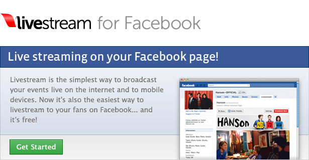 Livestream for Facebook: The free and easy way to broadcast live to your fans on Facebook. Get Started now!